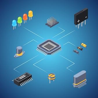 Concepto de infografía isométrica microchips y piezas electrónicas iconos