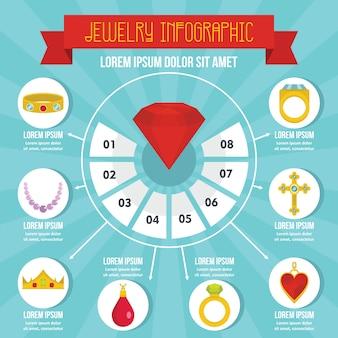 Concepto de infografía joyería, estilo plano.