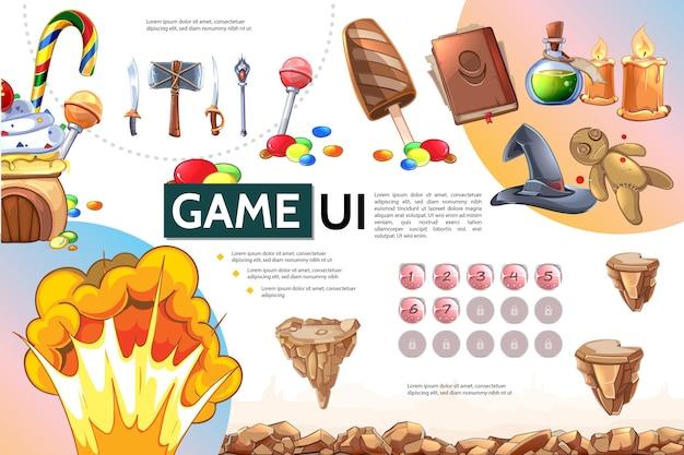 Concepto de infografía de juego móvil de dibujos animados