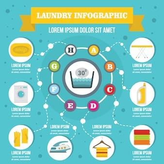 Concepto de infografía de lavandería, estilo plano