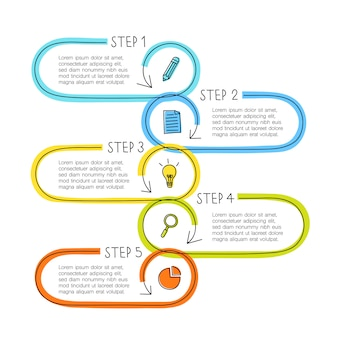 Concepto de infografía de línea con cinco pasos, los cuadros de texto se pueden usar para cronología, flujo de trabajo, negocios o educación