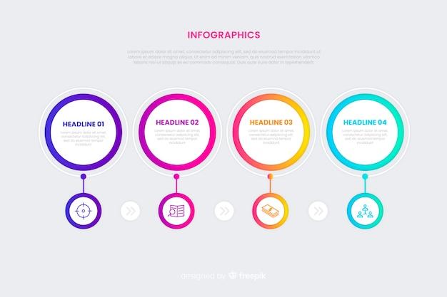 Concepto de infografía línea de tiempo con efecto degradado