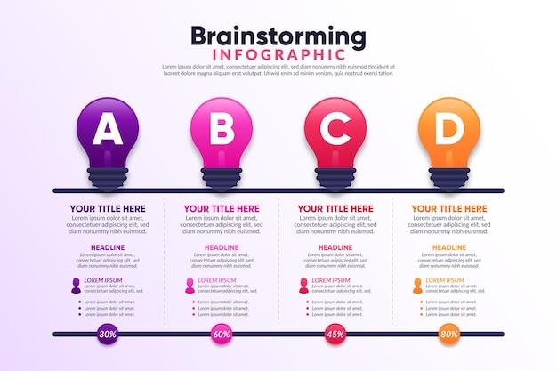 Concepto de infografía de lluvia de ideas degradado