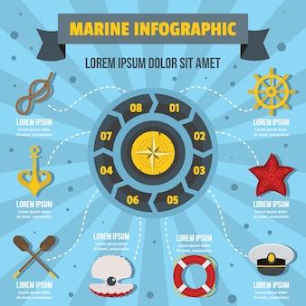 Concepto infografía marina, estilo plano.