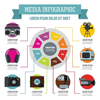 Concepto infografía media, estilo plano.
