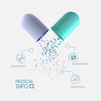Concepto de infografía de medicina abstracta con píldora de cápsula médica abierta tres opciones e iconos aislados