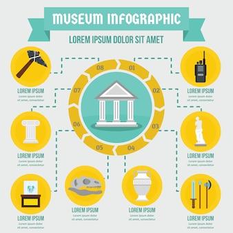Concepto de infografía museo, estilo plano.
