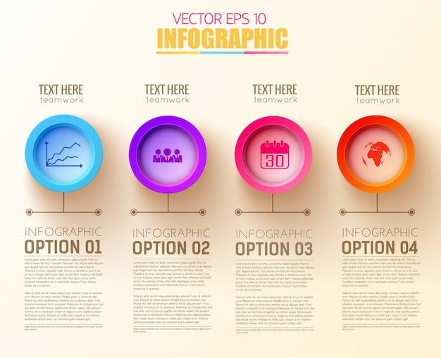 Concepto de infografía de negocios digitales con cuatro iconos y botones redondos coloridos