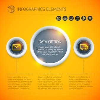 Concepto de infografía de negocios digitales con iconos de camiones de sobres de texto de círculos sobre fondo naranja brillante aislado