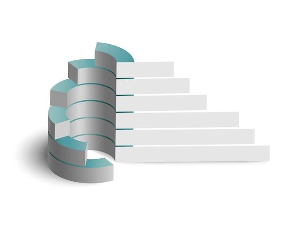 Concepto de infografía de negocios web digital con diagrama de círculo 3d y pancartas en blanco aislado
