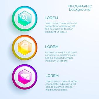Concepto de infografía de negocios web con tres opciones de iconos y hexágonos brillantes de colores aislados