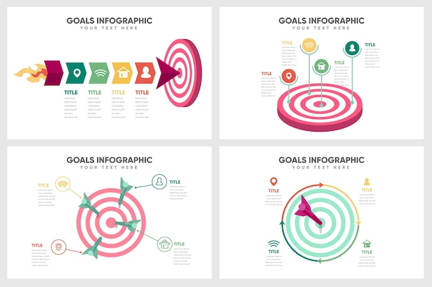 Concepto de infografía de objetivos