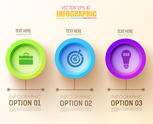 Concepto de infografía de opciones abstractas con tres círculos coloridos e iconos de negocios