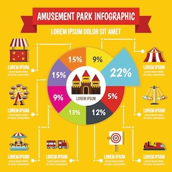Concepto de infografía parque de atracciones, estilo plano