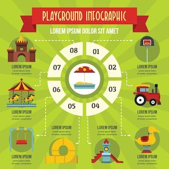Concepto de infografía parque infantil, estilo plano