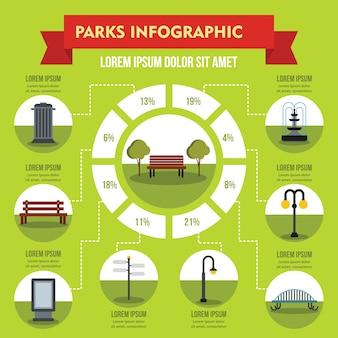Concepto de infografía parques, estilo plano.