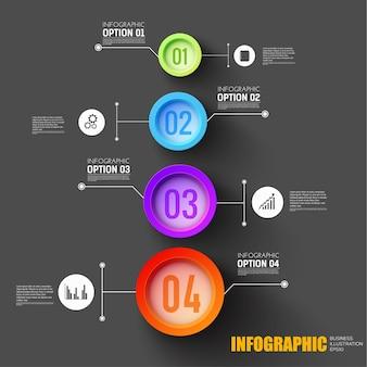 Concepto de infografía de pasos comerciales con conjunto de iconos y botones numerados de opción