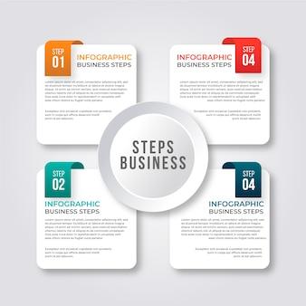 Concepto de infografía pasos con evolución