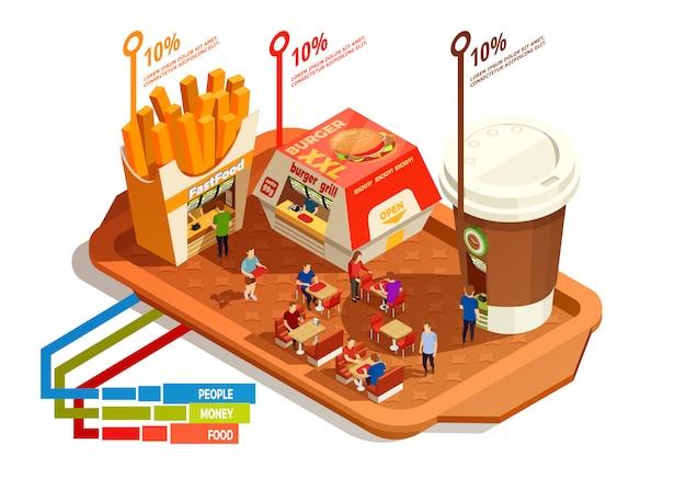 Concepto de infografía del patio de comidas