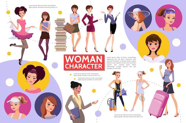 Concepto de infografía de personajes de mujer plana