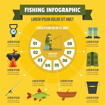 Concepto de infografía de pesca, estilo plano.