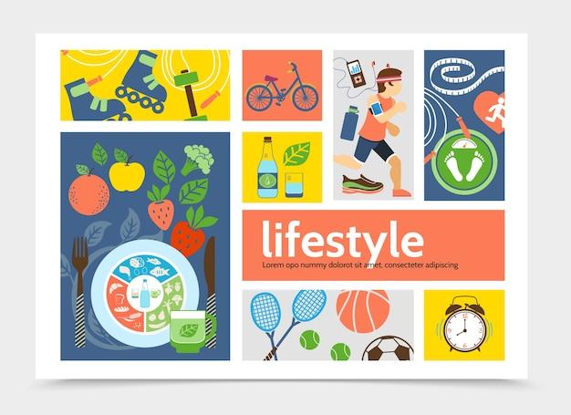 Concepto de infografía plana estilo de vida saludable con correr hombre rodillos tenis fútbol baloncesto pelotas despertadores bicicleta frutas verduras ilustración