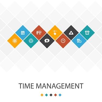 Concepto de infografía de plantilla de interfaz de usuario de gestión del tiempo. eficiencia, recordatorio, calendario, iconos de planificación