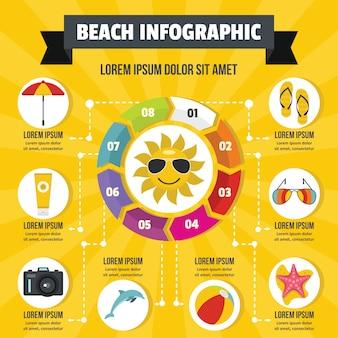 Concepto de infografía playa, estilo plano.