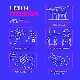 Concepto de infografía de prevención de coronavirus