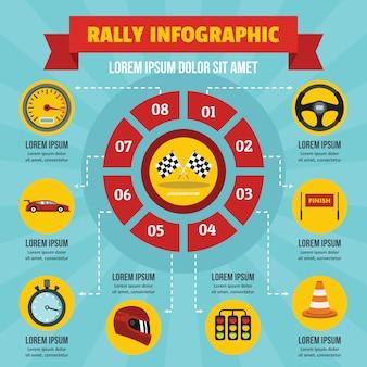 Concepto de infografía rally, estilo plano.