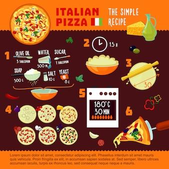 Concepto de infografía de receta de pizza italiana