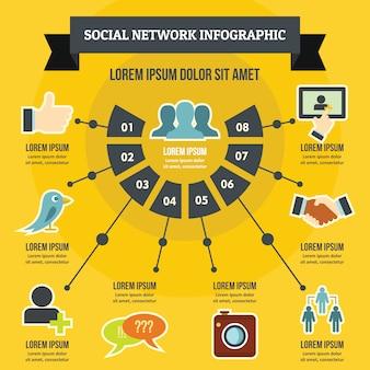 Concepto de infografía red social.