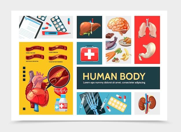 Concepto de infografía de salud de dibujos animados