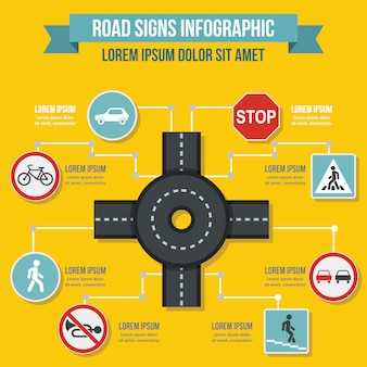 Concepto de infografía de señales de tráfico, estilo plano