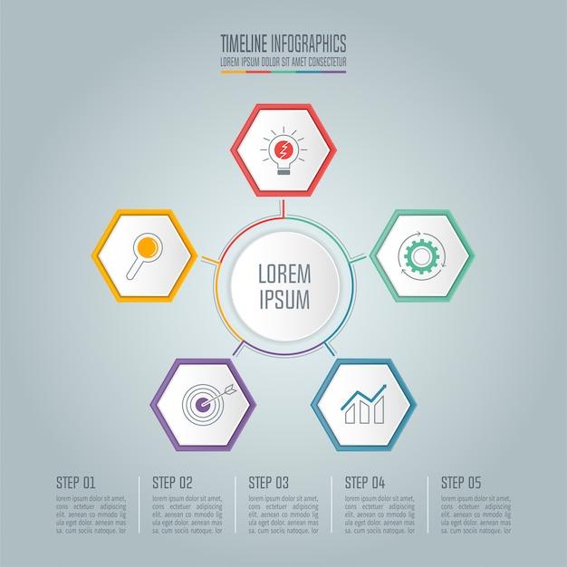 Concepto de infografía timeline con 5 opciones.