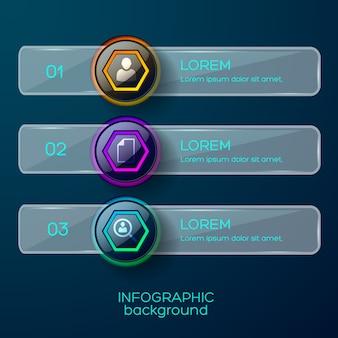 Concepto de infografía con tres marcos numéricos brillantes con descripción de texto de iconos y forma horizontal sólida