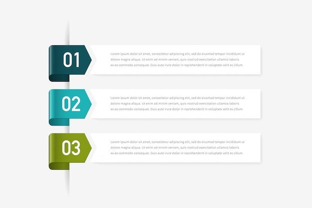 Concepto de infografía con tres opciones, pasos o procesos. se puede utilizar para el diseño del flujo de trabajo, informe anual, diagramas de flujo, diagramas, presentaciones, sitios web, pancartas, materiales impresos