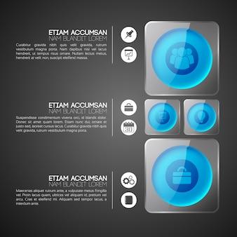 Concepto de infografía web con círculos azules en marcos cuadrados de vidrio gris e iconos de negocios