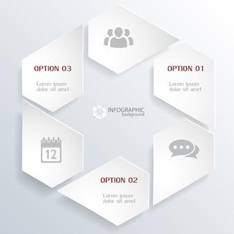 Concepto de infografía web con elementos grises en forma hexagonal e iconos aislados