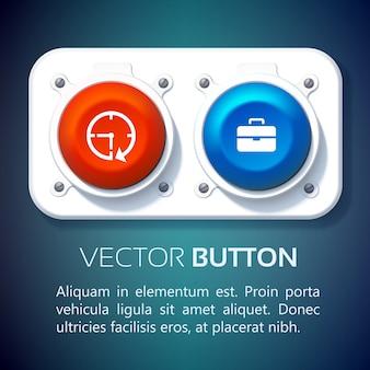 Concepto de infografía web empresarial con coloridos botones redondos unidos al panel de metal e iconos aislados