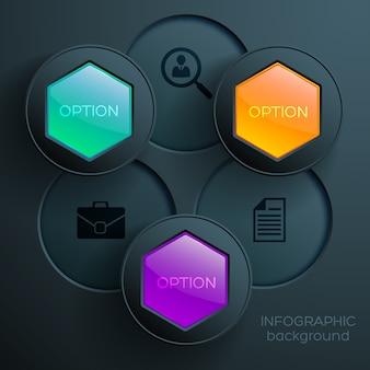 Concepto de infografía web empresarial con iconos coloridos hexágonos brillantes y botones redondos