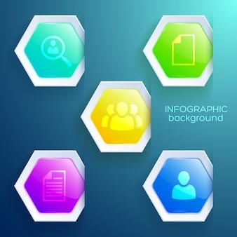 Concepto de infografía web empresarial con iconos y hexágonos de colores brillantes