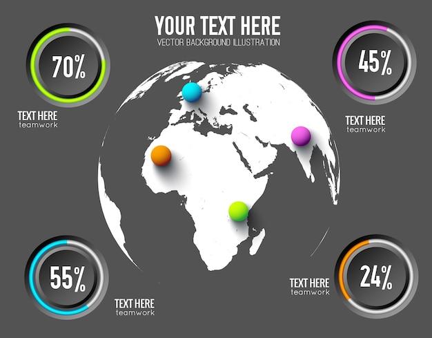 Concepto de infografía web empresarial con tasas de porcentaje de botones redondos y bolas de colores en el mundo