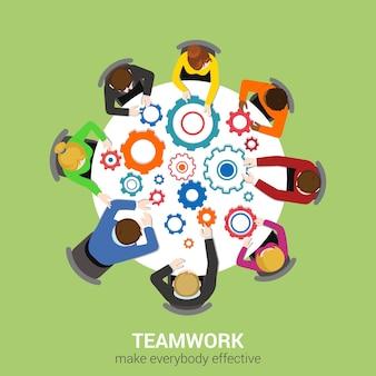 Concepto de infografía de web plana de negocios de vista superior de mesa de oficina. el personal alrededor de la mesa informe de análisis de trabajo tablet portátil fondo vacío. piense en la planificación del informe. colección de personas creativas.