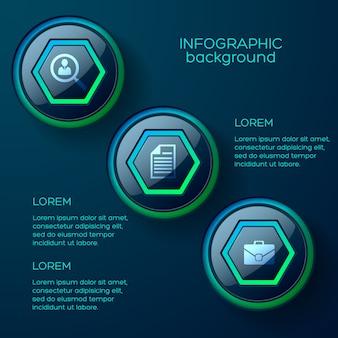 Concepto de infografía web con tres coloridos botones web brillantes e iconos de negocios