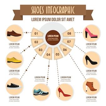 Concepto de infografía de zapatos, estilo plano.