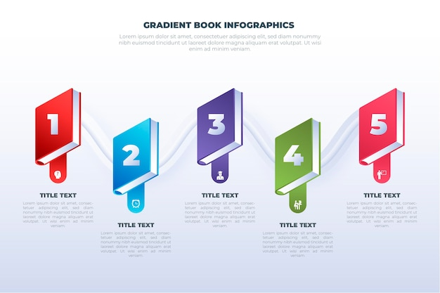Concepto de infografías de libro degradado