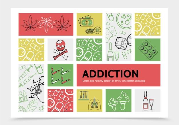 Concepto infográfico de adicciones nocivas con marihuana deja dinero chips dados cráneo cigarrillos drogas