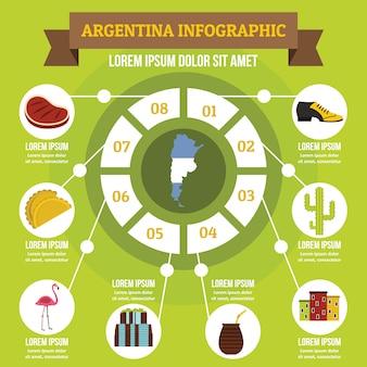 Concepto infográfico argentino, estilo plano.