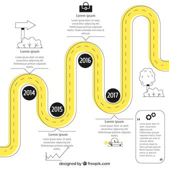 Concepto infográfico de línea de tiempo con carretera